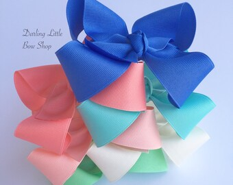 Large Boutique Bow Set of 6 bows -- Sassy & Sweet Collection -- cornflower blue, peach, soft white, aqua, mint and coral