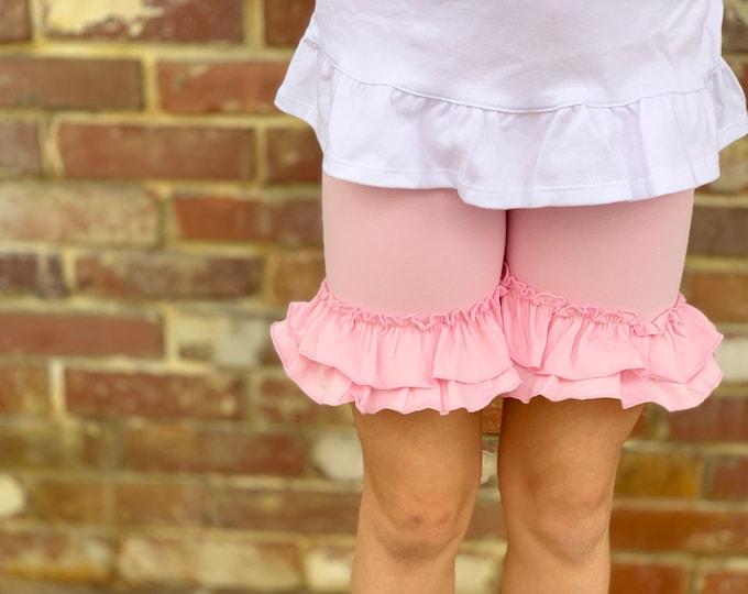 Powder Pink Ruffle Shorties, Powder Pink Ruffle Shorts - knit ruffle shorties sizes 6m to girls 10 - Free Shipping