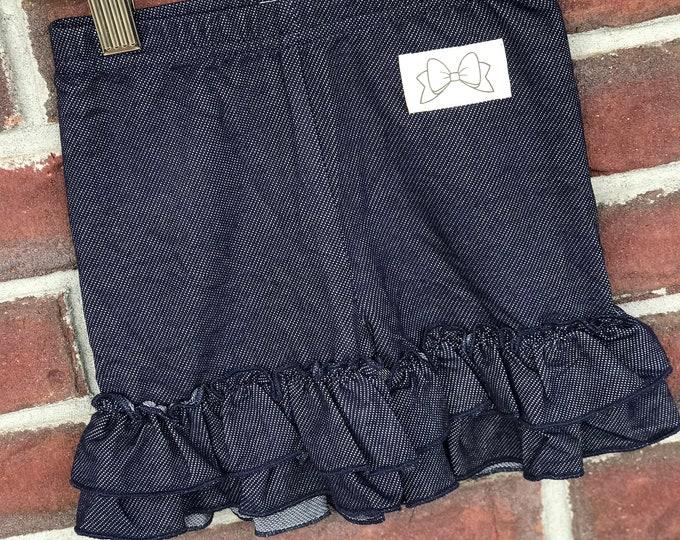 Denim Ruffle Shorties, Dark Jegging Ruffle Shorts - knit ruffle shorties sizes 12m to girls 10 - Free Shipping