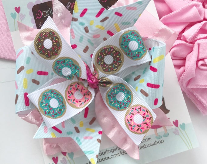 Donut Hairbow in pastel colors -- Donut Bow in layered style -- optional elastic headband
