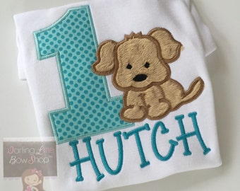 Puppy Birthday bodysuit or shirt -- Puppy Pawty -- birthday shirt or bodysuit for boys with puppy in aqua blue and tan
