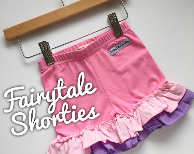 Fairytale Ruffle Shorties, Pink, Light Pink and Lavender Ruffle Shorts - knit ruffle shorties sizes 6m to girls 10 - Free Shipping