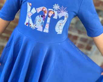 Frozen Dress for Girls, Twirly Dress  - Anna Elsa size 12m to girls 10 with snowflakes