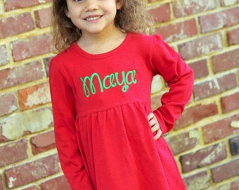 Red Ruffle Dress for Christmas -- sweet monogrammed long sleeve dress sizes 12m through 5
