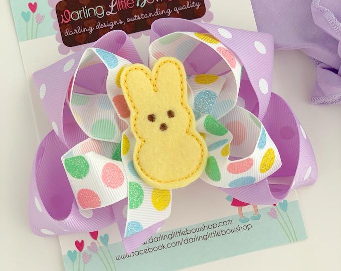 "Peep bow, Peep hairbow in pink, light purple, yellow and aqua -- 5"" hairbow with optional headband"