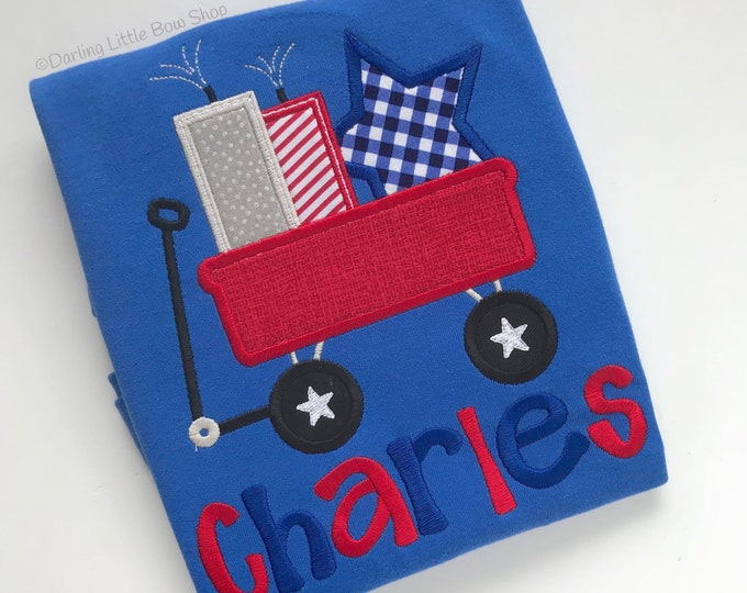 Fireworks Wagon shirt or bodysuit for boys - vibrant red, white and blue for Memorial Day and 4th of July -- choose white or blue shirt
