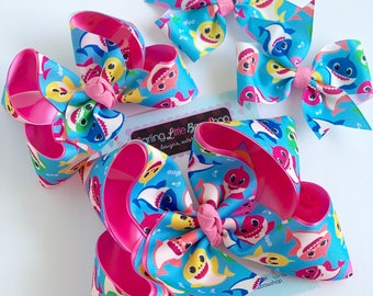 "Baby Shark Bow -- Baby Shark Doo Doo Doo Doo choose 4-5"", 6"" or 3"" pigtail bows"