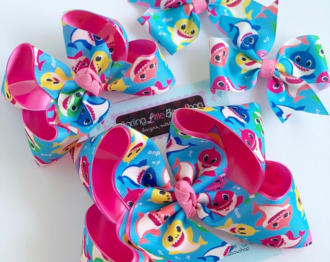 """Baby Shark Bow -- Baby Shark Doo Doo Doo Doo choose 4-5"""", 6"""" or 3"""" pigtail bows"""
