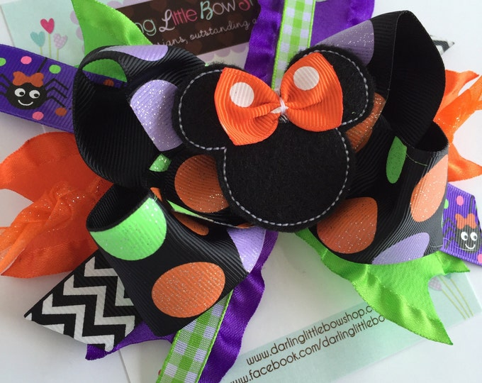 Miss Mouse Bow - Halloween bow - Not So Scary Halloween Miss Mouse Bow - optional headband