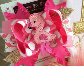 "Flamingo bow, Flamingo hairbow, hot pink Flamingo bow -- Fancy Flamingo -- flamingo bow in hot pink and gold -- choose 4-5"" or 6-7"" bow"