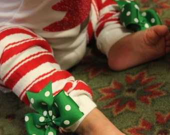 Christmas Bow Leg Warmers - Bows for Her Toes - candy cane stripes with green polka dot bows