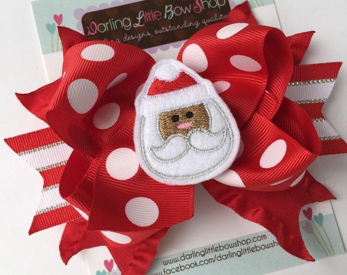 Christmas Bow with red and white jumbo polka dots and silver -- Sweet Santa -- choose mocha or peach skin tone for Santa