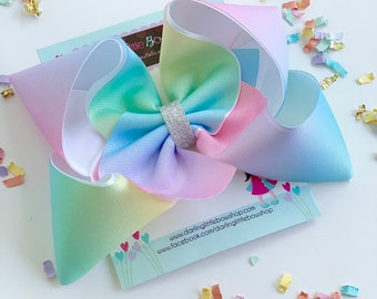 "Pastel Rainbow Bow, rainbow hairbow in ombre pastel colors with silver center choose 4-5"" or 6-7"""