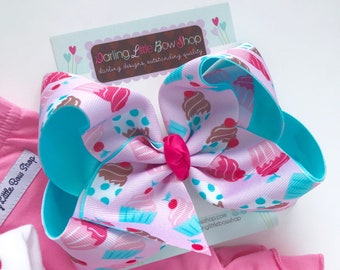 "Cupcake Bow, Cupcake hairbow in pinks and aquas - choose 4-5"" or 6-7"""