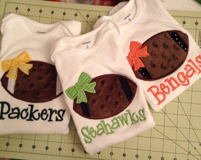 Baby Girl Football Bodysuit  -- Football Princess -- Personalized football bodysuit with CHOICE of Color
