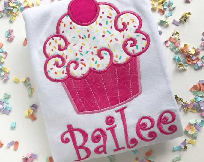 Cupcake shirt, tank top or bodysuit for girls -- Cupcake Cutie -- pink cupcake with sprinkles --  as seen in GLAMOUR