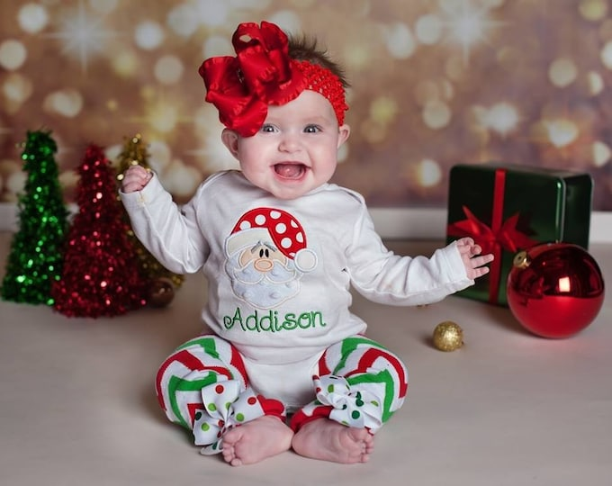 Baby Girl Christmas Outfit - Sweet Santa - bodysuit & leg warmers - red and emerald green