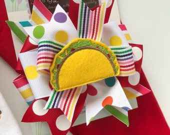 Taco bow, Taco Hairbow -- Fiesta hairbow in bright, rainbow colors