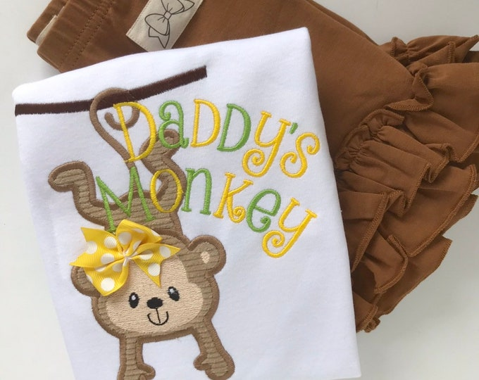 Daddy's Monkey Shirt or Bodysuit for girls -- Father's Day monkey theme shirt for girls