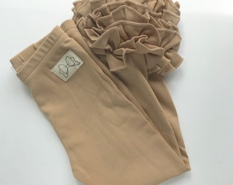 Toasted Almond Ruffle Leggings - tan Icings Ruffle Leggings - gorgeous knit ruffle leggings - size NB to 10 with FREE SHIPPING