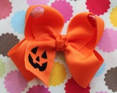 Halloween Bow Pumpkin Bow Large Orange Boutique Bow embroidered with jack-o-lantern - Choose 4-5 quot or 6-7 quot