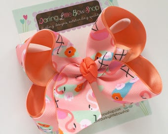 "Flamingo bow, Flamingo hairbow in peach, coral, pink and mint -- choose 4-5"" or 6-7"" bow -- Large hairbow with optional headband"