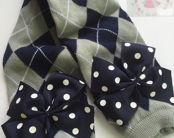 New York Yankees Leg Warmers -- Bow Leg Warmers for baby girls -- navy, gray and white stripes with navy polka dot bows
