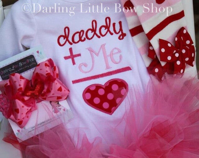Baby Girl Tutu Outfit - Daddy's Girl - pink and red applique bodysuit, leg warmers, bow and tutu -- Father's Day