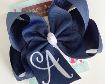 Monogrammed Bow ---you choose initial and colors--- bow with script initial