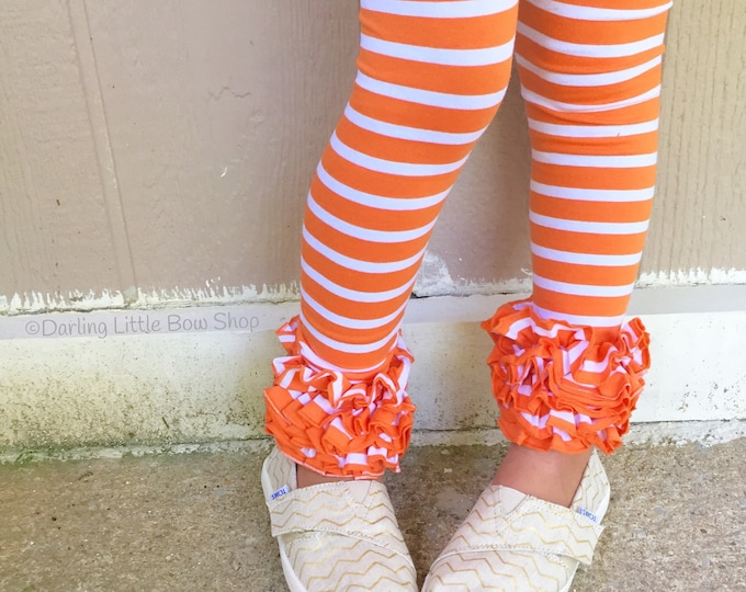 Orange Ruffle Leggings - Autumn Stripes - knit ruffle leggings in orange and white - size Newborn to 10 with FREE SHIPPING
