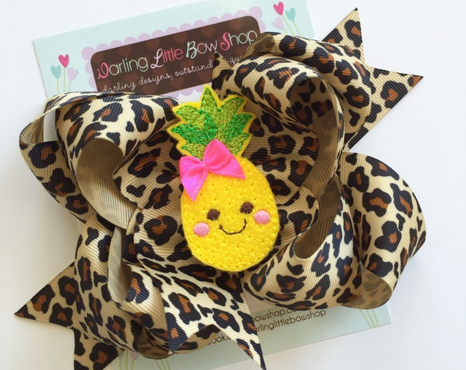 Pineapple Bow -- large bow in leopard print with pineapple center -- Pineapple of My Eye bow