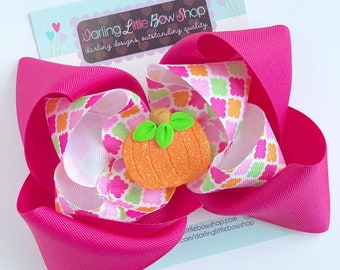 "Pumpkin Bow -- Pink of the Patch- choose 5"" or 6"" hot pink and orange bow with sparkly pumpkin center, headband option available"