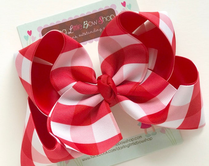 """Red Gingham Hairbow, Red Plaid hairbow -- 6-7"""" or 4-5"""" Large hairbow with optional headband -- white and red check buffalo plaid"""