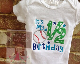 Baby Boy Half Birthday bodysuit-- It's my 1/2 Birthday -- Primary green, royal and bright blues, with baseball accent