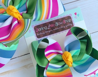 "Hairbows to match Matilda Jane - Back To School Stripes - choose 4-5"" or 6"" bow"