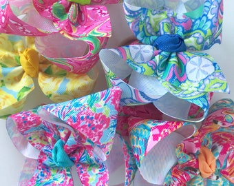 "Lilly Pulitzer inspired bows hairbows 6 prints available -- choose 4"", double stacked or 7"" bows -- AMAZING quality handmade in Tennessee"