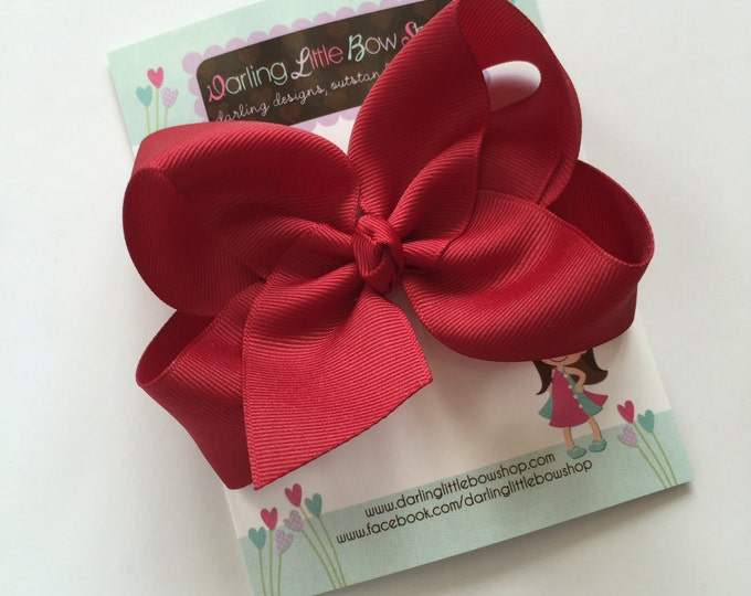"Cranberry Bow, Cranberry Hairbow -- choose 3"" 4"" 5"" or 6"" bow -- AMAZING quality handmade in Tennessee"