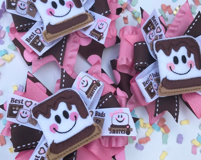"S'mores bow in pinks and browns -- 4-5"" layered bow with smiley S'mores center"
