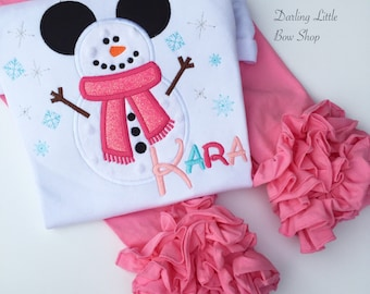 Miss Mouse Snowman Bodysuit OR Shirt for Girls -- Magical Wonderland -- pink, hot pink, turquoise and silver -- Very Merry Christmas