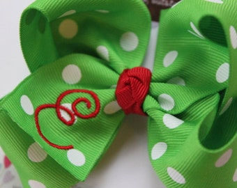 Christmas Bow --- Large apple green polka dot bow with red embroidered initial --- you choose initial
