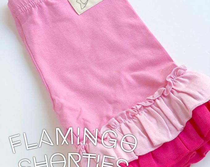 Flamingo pink ombre Ruffle Shorties, pink Ruffle Shorts - knit ruffle shorties sizes 12m to girls 10 - Free Shipping