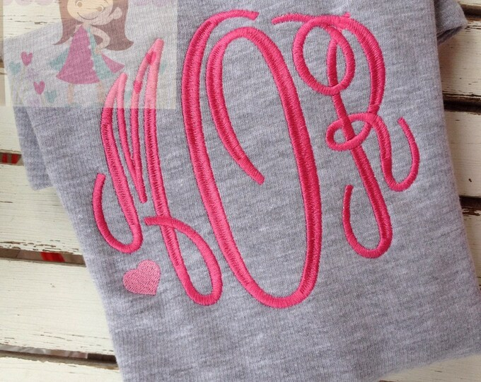 Monogrammed Sweatshirt for toddlers and girls - Sweetheart Sweatshirt - gray, hot pink and pink heart accent -- great for Valentines Day