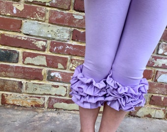Ruffle Capris - Lavender Fields - lavender knit ruffle capris sizes 6m to girls 8 - Free Shipping