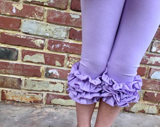 Ruffle Capris - Lavender Fields - lavender knit ruffle capris sizes 6m to girls 8 - Free Shipping