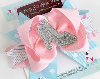 Cinderella hairbow with glass slipper center - pink, blue and silver princess bow