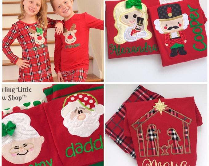 LIMITED Christmas Pajamas - Family pajamas - Santa, Reindeer Gingerbread, Nutcracker applique - Adult, infant childrens sizes PLUS doll pjs