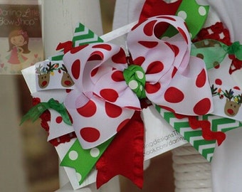 Over The Top Christmas Bow -- Pretty Reindeer -- red jumbo polka dots, green chevron with reindeer ribbon