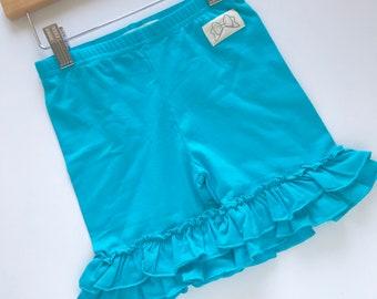 Turquoise Ruffle Shorties, Bahama Blue Ruffle Shorts - knit ruffle shorties sizes 6m to girls 10 - Free Shipping