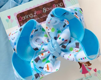 "Snowman Bow -- Blue Snowman At Play hairbow in 4-5"" size"