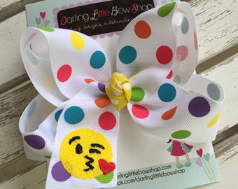 Emoji bow - Emoji hairbow -- our exclusive rainbow dot ribbon embroidered with a fun emoji -- a fav for trendy girls